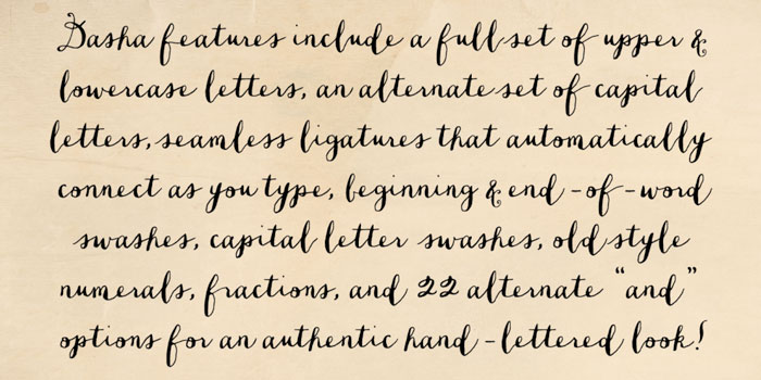 Examle of a handwriting font with lots of ligature connections