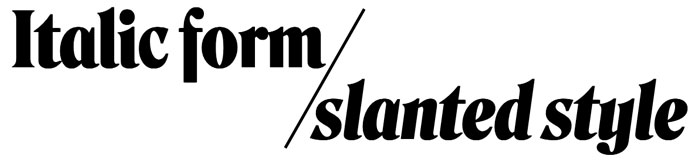 Italic and slants with Roslindale Display