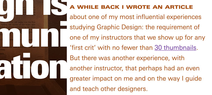 Image of lede paragraph style featuring distinctive typography and color