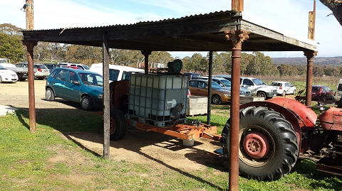 Our 1,000 L compost tea brewer set up for demonstration at a workshop