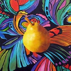 Psychedelic Pear, Still Life oil painting