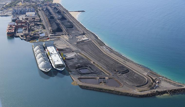 Illustration of the new 250 million Port Kembla gas terminal