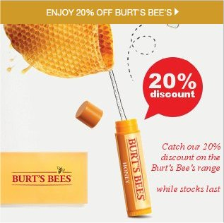 Burt's Bees believe that well-being is affected every day by the personal care products you use.  Try the range now with a fabulous 20% off the range