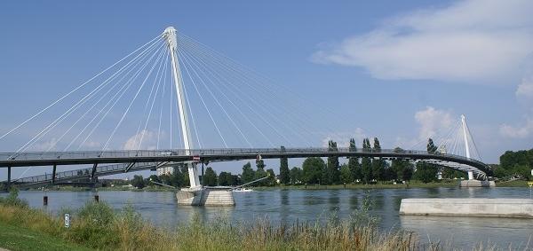 Passerelle des Deux Rives or Mimram Bridge between Strasbourg, France, and Kehl, Germany