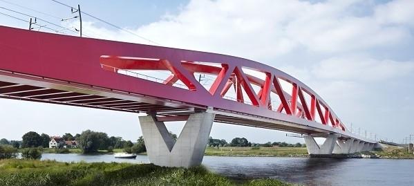 High-speed rail bridge over the IJssel at Zwolle, Netherlands