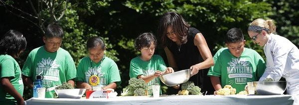 Kemper students cooking with Michelle Obama