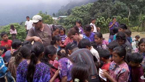 Chico with village kids