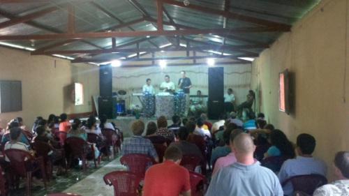 Pastor Lewis shares in a Mayan church