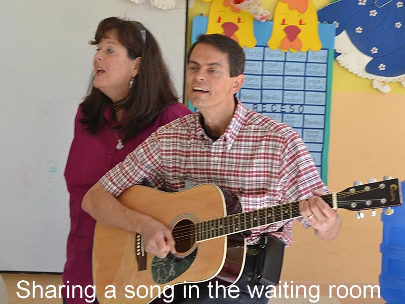Image: Jeff & Terri sharing song with patients in waiting room