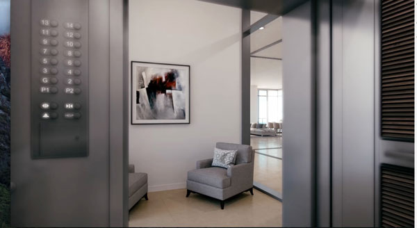Each residence offers a private elevator lobby, offering conveniece and security.