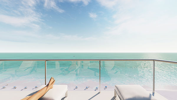 Glass railings allow unobstructed views of the gulf.