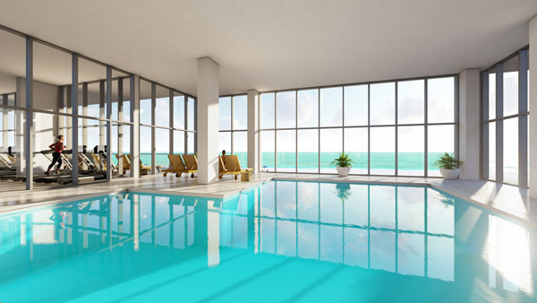 The oversized indoor pool is ideal for rainy days and cool winter months.