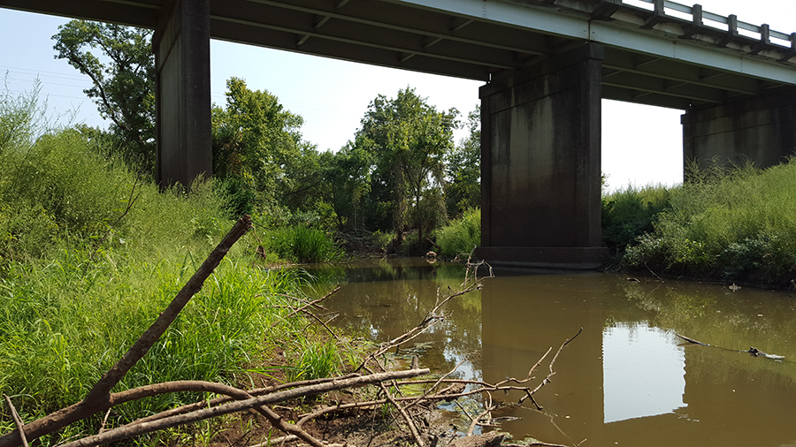 Downstream view of Little Brazos River at bridge crossing (courtesy Freese and Nichols, Inc.)