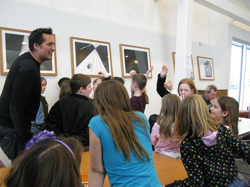 Adrian Stimson giving a tour and talk during his visit to Grande Prairie Public Library in 2011.