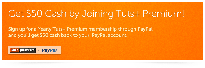 $50 Cash by Joining Tuts+ Premium