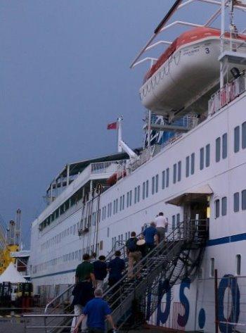 Boarding Mercy Ship in Guinea