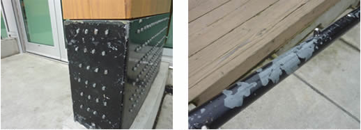 Chipping paint reveals neither primer nor surface preparation on underlying galvanized surfaces