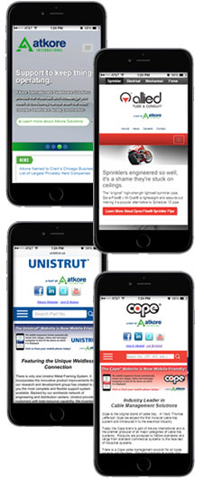 Mobile Websites for Atkore, Allied Sprinkler, Unistrut North America and Cope
