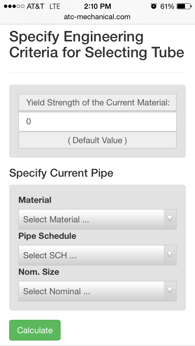 Tube Substitution Calculator for Schedule Pipe