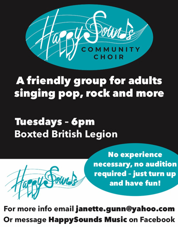 Happy Sounds community choir. A friendly group for adults singing pop, rock and more. Tuesdays 6pm Boxted British Legion. No experience necessary, no audition required - just turn up and have fun! For more info email janette.gunn@yahoo.com or message HappySounds Music on Facebook.