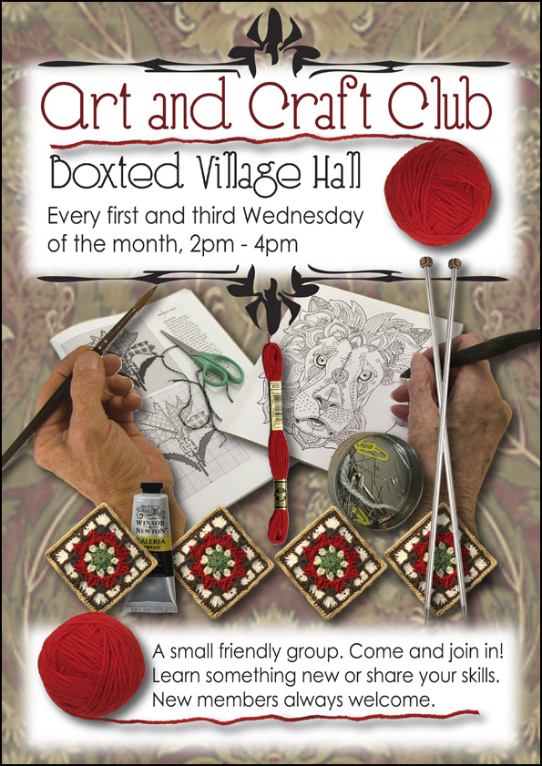 Art amd craft club at Boxted Village Hall. Every first and third Wednesday of the month, 2-4pm. A small friendly group. Come and join in! Learn something new or share your skills. New members always welcome.