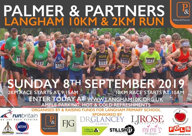 Langham 10k and 2k run. Sunday 8th September 2019. Sk race starts 9.15am, 10k race starts 10am. Enter today at www.langham10k.org.uk.