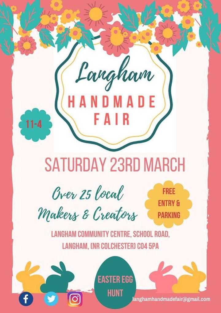 Handmade Fair, Langham Community Centre Saturday 23 March 11 a m - 4 pm