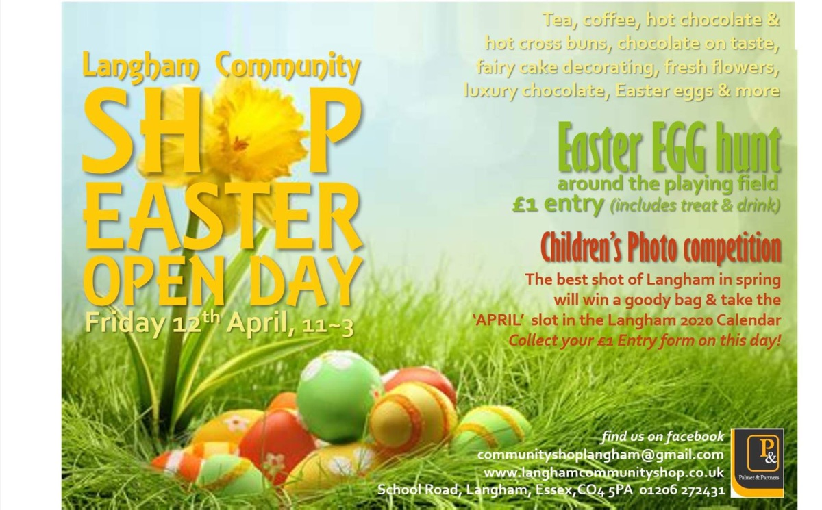 Easter Open Day Langham Community Centre 12 April from 11 to 3 pm