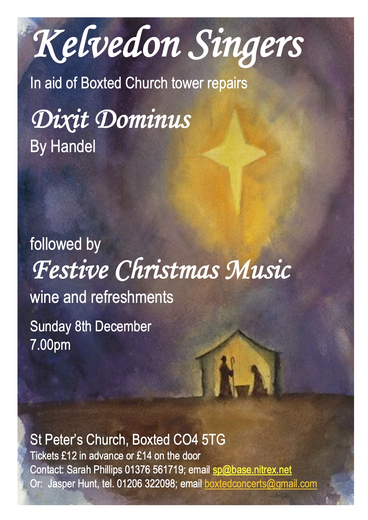 Kelvedon Singers Festive Christmas Music Sunday 8th Deember 7.00pm St Peter's Church, Boxtedwine and refreshments