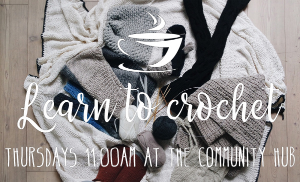 Learn to crochet. Boxted Community Hub Thursdays at 11 am