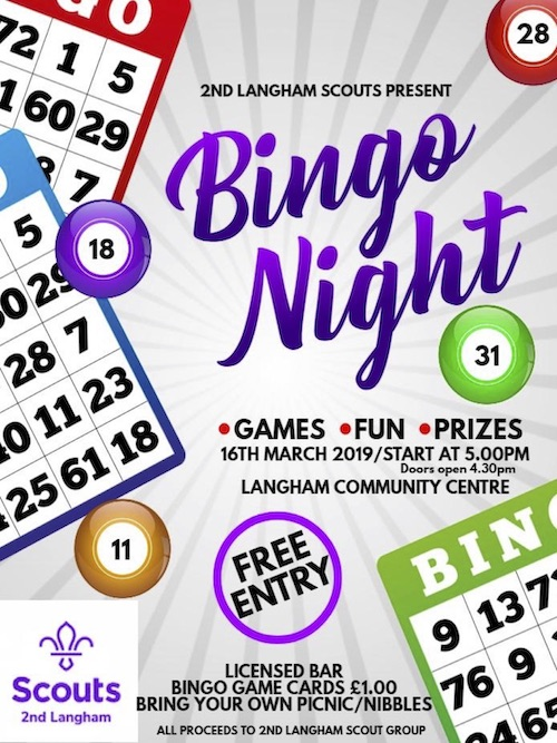 Bingo Night 16 March Langham Community Centre 5 pm