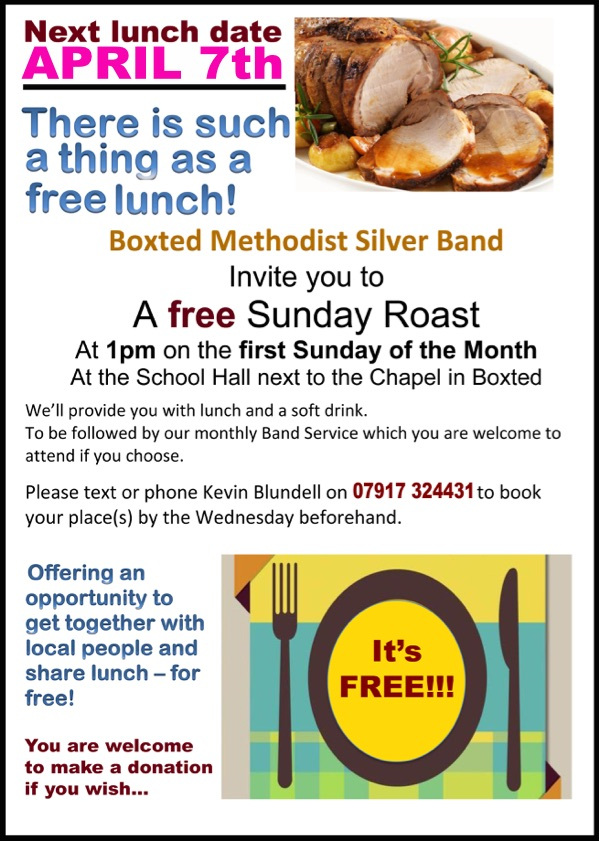 Free Sunday Roast April 7. Boxted Methodist Church Hall. 1 pm. Call 07917 324431 to book.