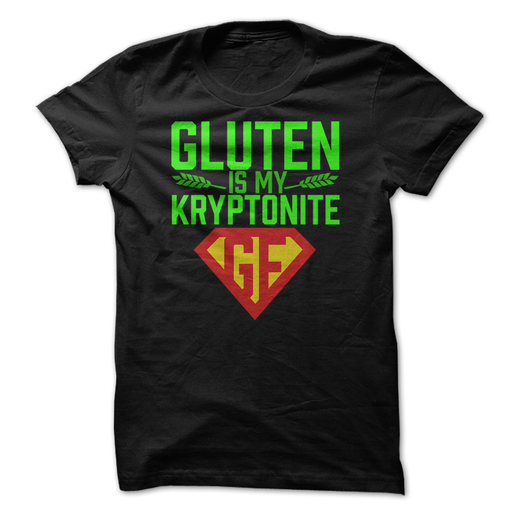 gluten free black tee shirt gluten is my kryptonite