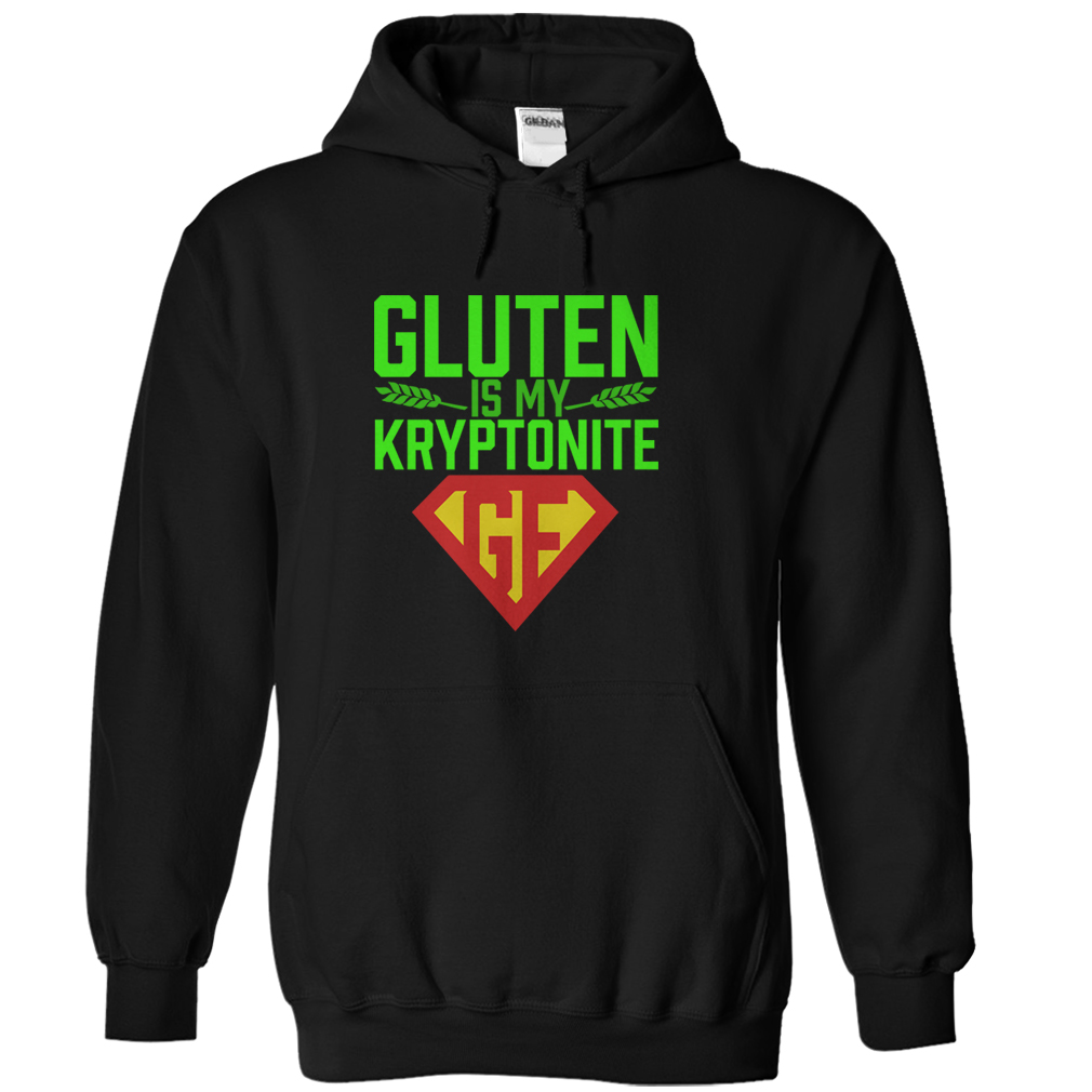 gluten free black hoodie shirt gluten is my kryptonite