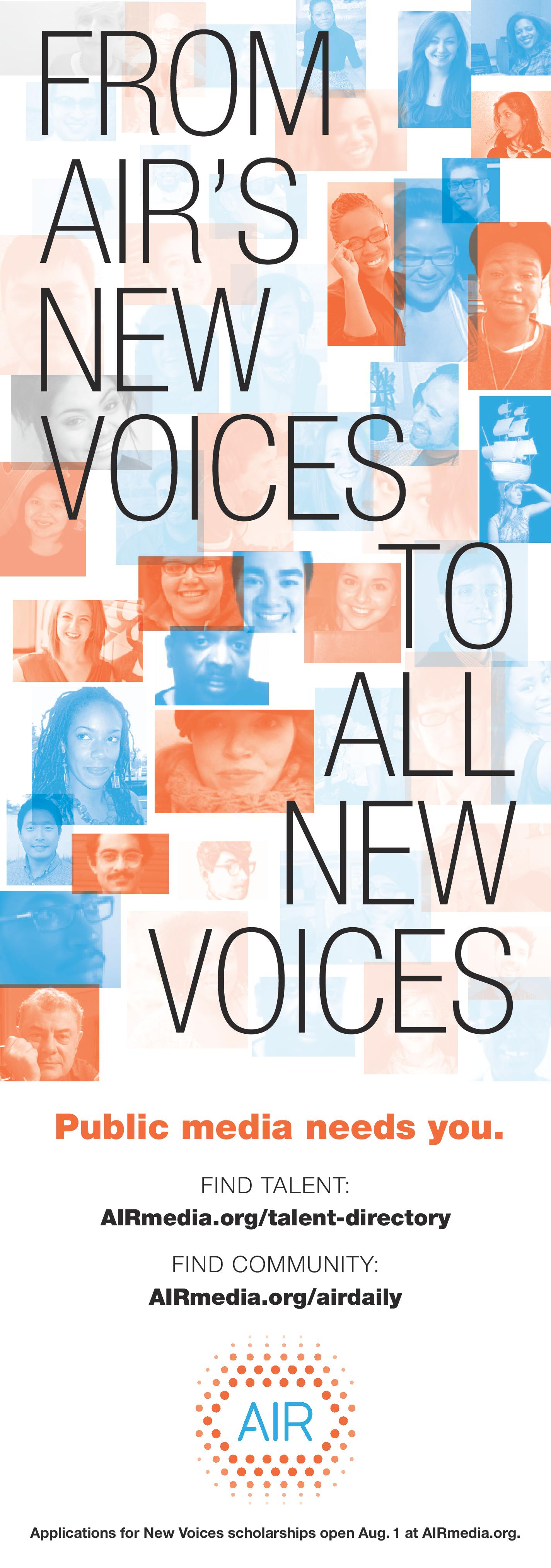 """An animated .gif of AIR's New Voices scholars that reads """"Dear New Voices, find mentors, find community, AIRmedia.org."""""""