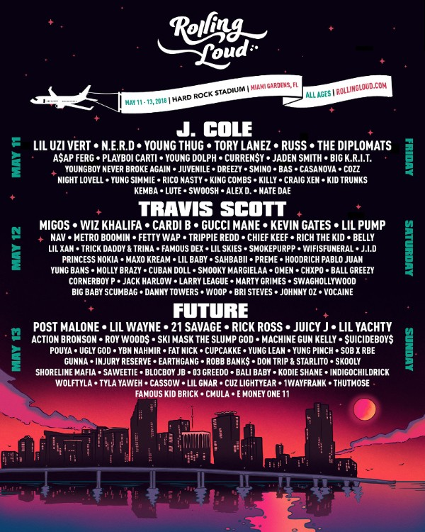 J. Cole, Travis Scott, Future to Headline the Fourth Annual Rolling Loud Miami Festival; Pre-Sale Tickets Now Available