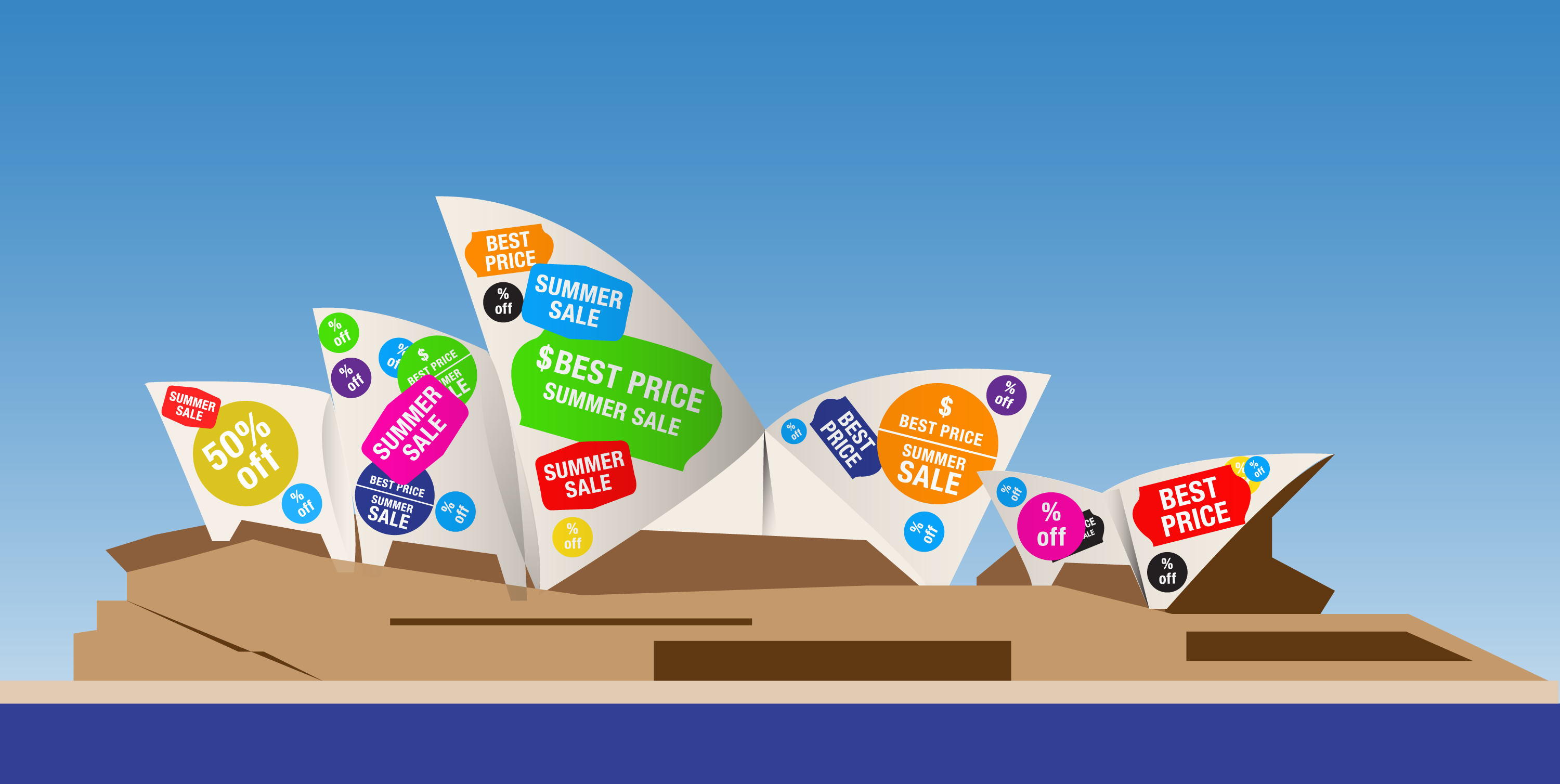 Illustration of the Sydney opera house covered in sale stickers