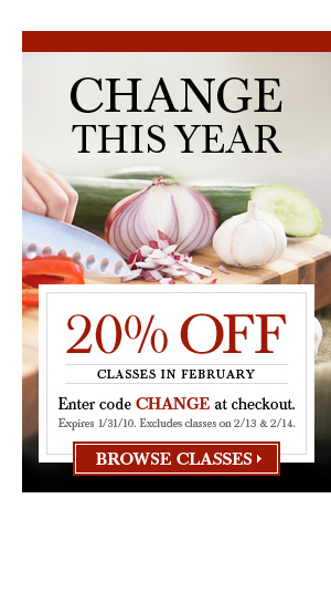 Change This Year. 20% Off February Classes.