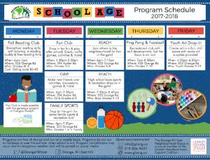 School Age Program Schedule 2017-2018