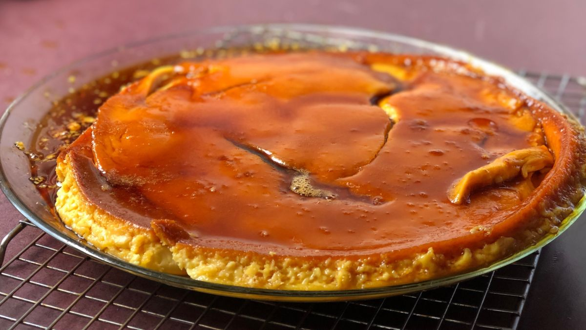 A closeup of Marilyn's flan