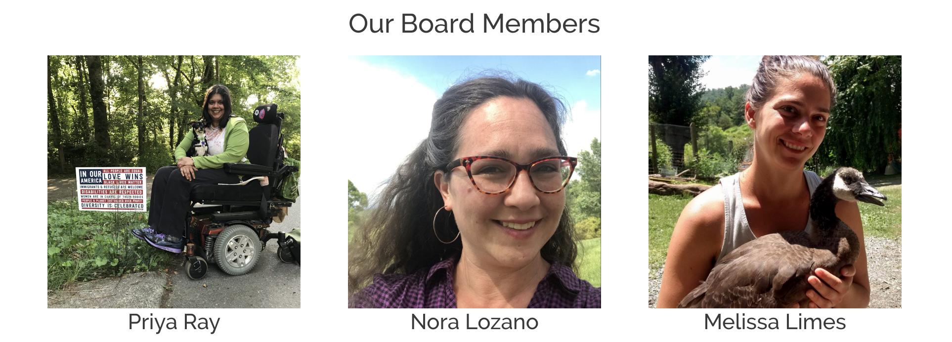 Board Members Priya Ray, Nora Lozano, and Melissa Limes