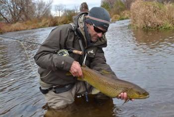 Bob Streb with a fine fall brown trout. Photo courtesy Bob Streb