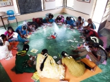 Mandala journal circle with adolescent girls from nearby villages at Life Education Center in Tamil Nadu, India.