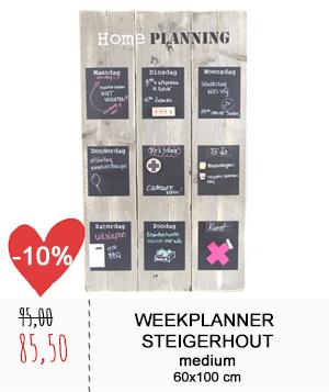 Weekplanner steigerhout medium
