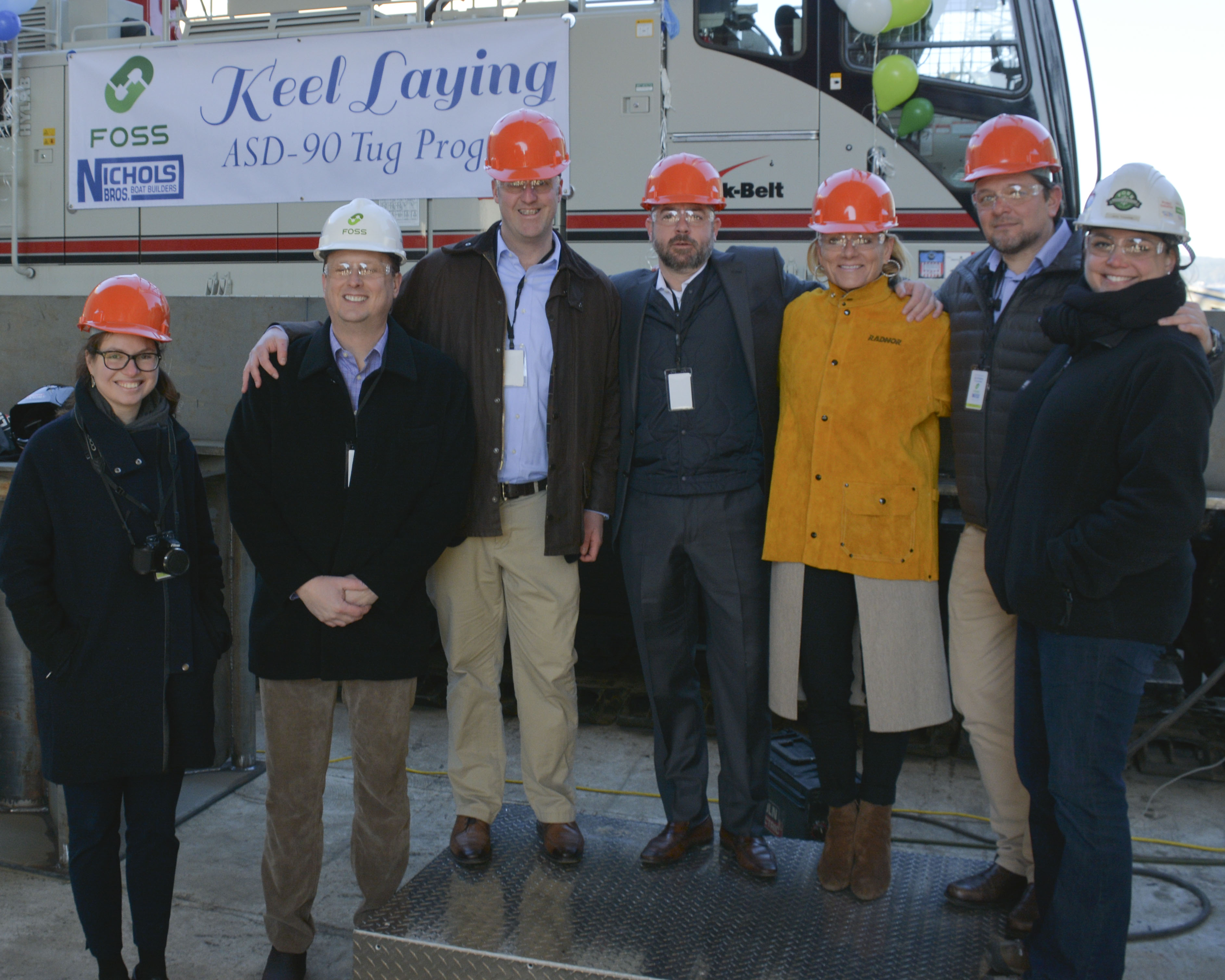 From left to right: Eve Lori, Foss Operations Assistant; Grant Johnson, Foss VP HSQE; Will Roberts, Foss COO; Tim Engle, Saltchuk President; Nicole Engle, Saltchuk Principal Shareholder; David Dumont, Foss Senior Director of Project Services and Engineering; Janic Trepanier, Foss ASD 90 Project Manager.