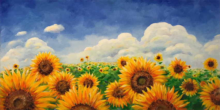 Gale's original sunflower field painting