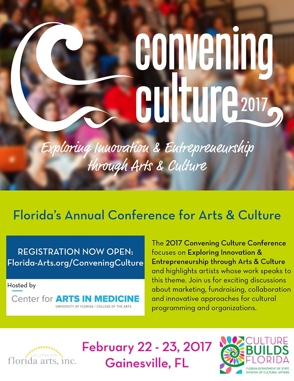 The 2017 Convening Culture Conference focuses on Exploring Innovation & Entrepreneurship through Arts & Cultureand highlights artists whose work speaks to this theme. Join us for exciting discussions about marketing, fundraising, collaborationand innovative approaches for cultural programming and organizations.