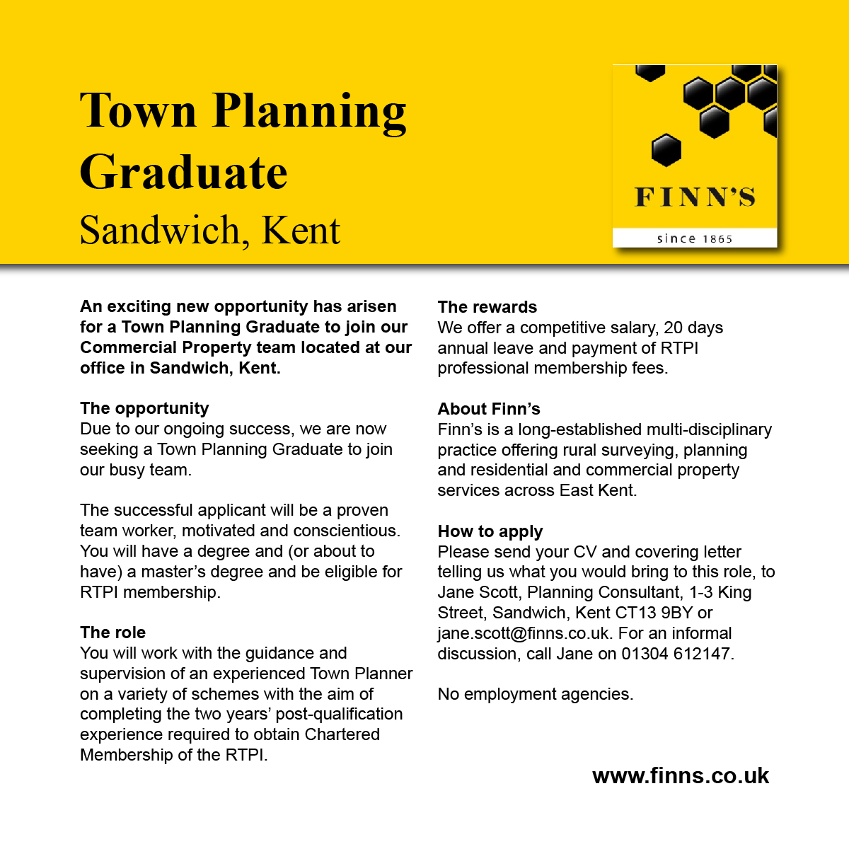 We are recruiting a Town Planning Graduate to our Commercial team in Sandwich