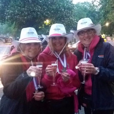Sarah, Judy & Joy fundraising in style