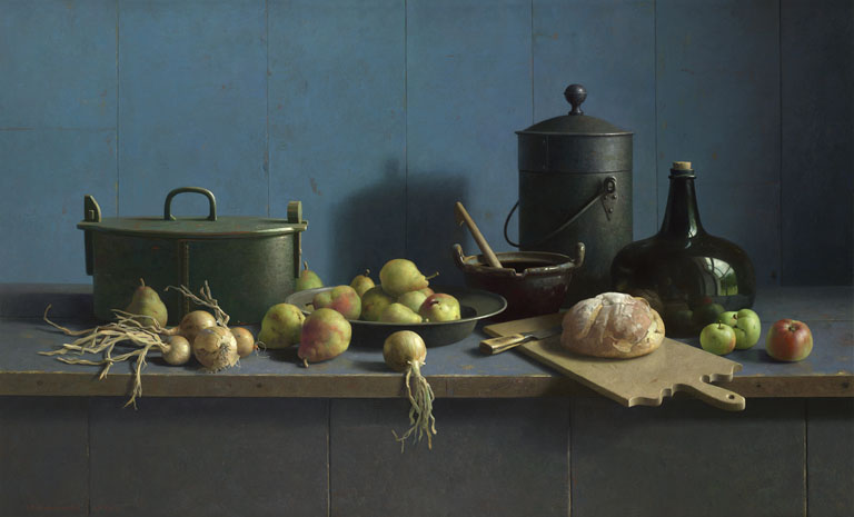 Henk Helmantel - Still life with fruit and bread on a blue background, oil on panel, 122 x 200 cm